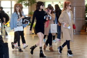 South Korean idol group 4 Minute depart from Gimpo International Airport to attend the Mnet Global Mcountdown in Japan on April 1 2014 STARNEWS