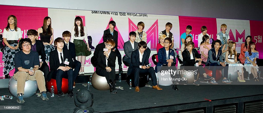 South Korean idol group f(x) and Super Junior and singer Kangta of HOT and U-Know, MAX of TVXQ (Tohoshinki) and Minho, Jonghyun, Taemin and Key of SHINee and Sunny, Jessica, Sooyoung, Taeyeon, Seohyun and Tiffany of Girls' Generation attend a showcase to promote 'I AM.' at CGV on April 30, 2012 in Seoul, South Korea. The documentary movie will open on May in South Korea.
