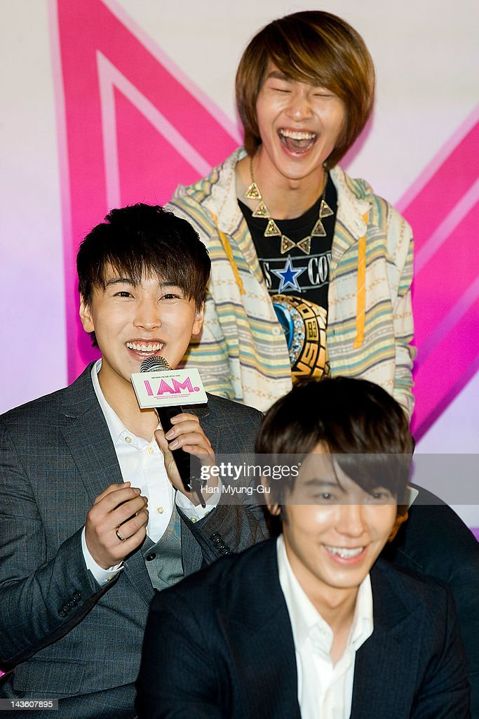 South Korean idol group Sungmin of <a gi-track='captionPersonalityLinkClicked' href=/galleries/search?phrase=Super+Junior&family=editorial&specificpeople=561135 ng-click='$event.stopPropagation()'>Super Junior</a> attends a showcase to promote 'I AM.' at CGV on April 30, 2012 in Seoul, South Korea. The documentary movie will open on May in South Korea.