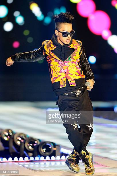 South Korean idol group Taeyang of Big Bang perform on the stage during a concert at the KPOP Fashion Concert on March 11 2012 in Seoul South Korea