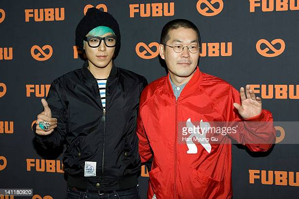 South Korean idol group TOP of BIGBANG and designer Seo SangYoung of FUBU attend during the '2TOP Jeans' of FUBU Launches at FUBU Store on March 12...