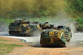 South Korean marine amphibious vehicles move for a demonstration during a press tour to General Outpost of 2nd Marine Division at a military base in...