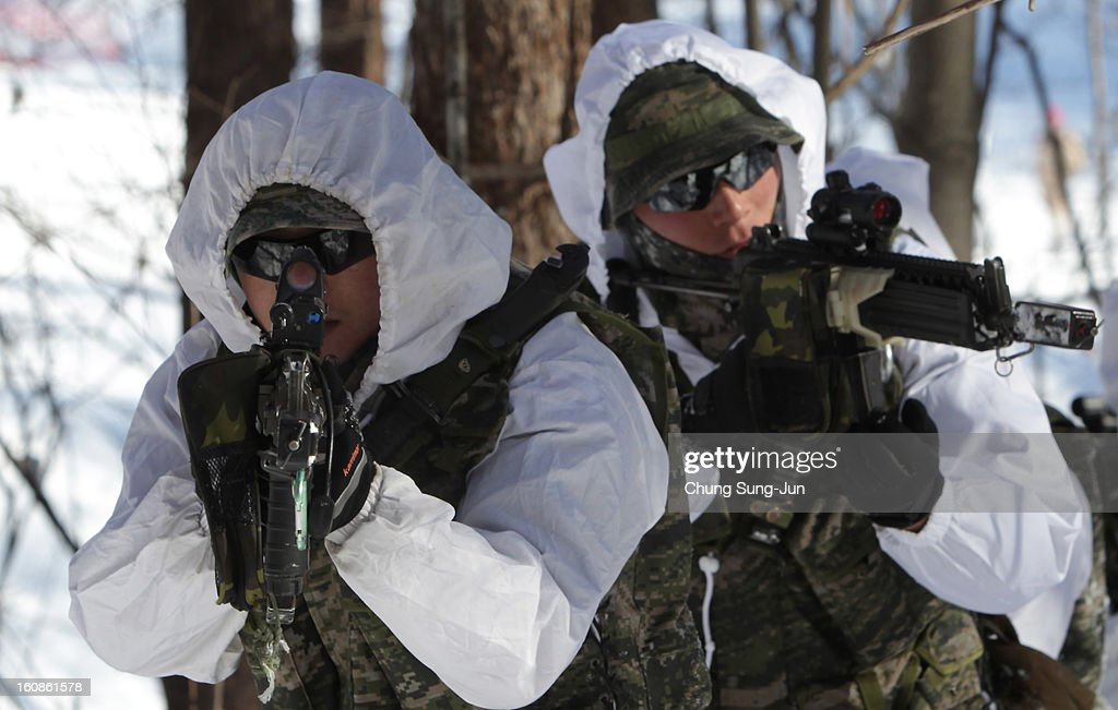 South Korean marine soldiers participate in the U.S. and South Korean Marines joint winter exercise on February 7, 2013 in Pyeongchang-gun, South Korea. The South Korean troops train in temperatures below minus 20 degrees celsius to defend the country against any possible attacks from North Korea.