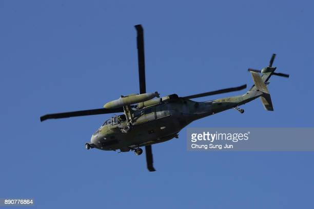 South Korean military helicopter hover during a antiterror drill at the Olympic Staduim venue of the Opening and Closing ceremony on December 12 2017...