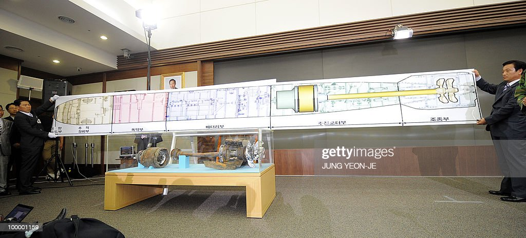 South Korean military officers shows a real-size blueprint of a torpedo above torpedo parts salvaged from the Yellow Sea during a press conference at the Defense Ministry in Seoul on May 20, 2010. South Korea's president vowed 'resolute countermeasures' against North Korea after investigators concluded that it sank one of Seoul's warships with the loss of 46 lives. A multinational team investigating the March 26 sinking of the 1,200-tonne corvette said a torpedo fired by a North Korean submarine was to blame.