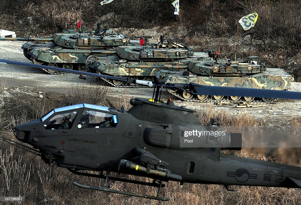 South Korean military soldiers take part during a joint air and ground force military exercise 25 kilometres from the North Korean border on December 23, 2010 in Pocheon, South Korea. The exercises were conducted to test fire power and prepare the South Korean defense force for any potential attack by North Korea.