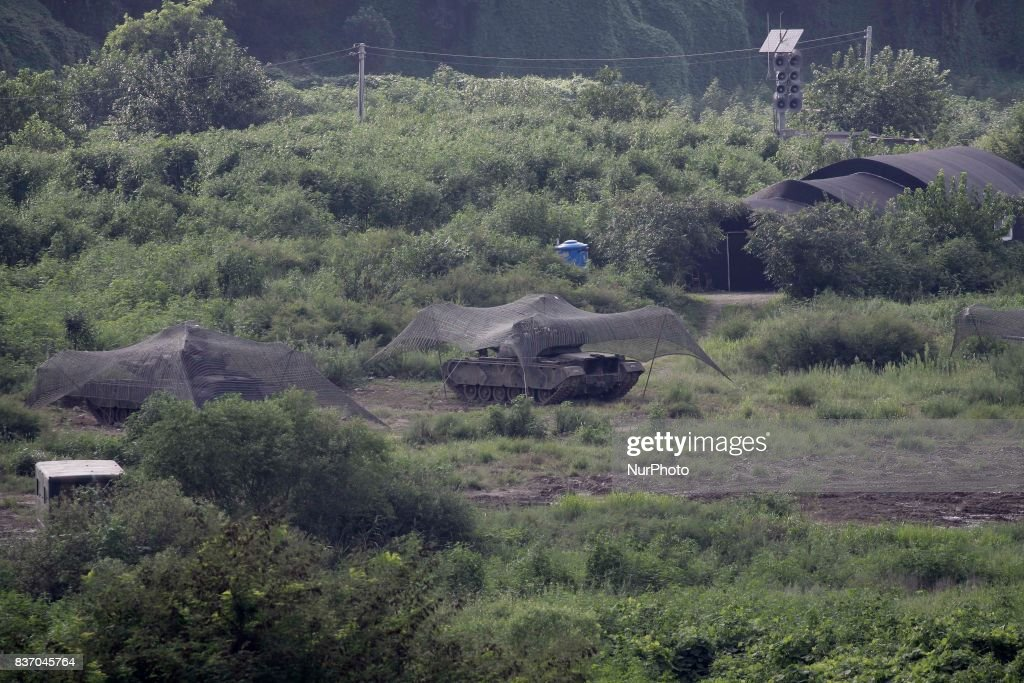 South Korean Military tank take part in an UFG exercise near DMZ in Paju, South Korea. The US and South Korean large-scale combined joint exercise Ulchi Freedom Guardian (UFG) begins on Aug. 21 to last till Aug. 31. There will be approximately 17,500 total US service members participating, with roughly 3,000 coming from off-peninsula - 500 more than last year. The numbers of all participants swell to a total of about 530,000 because South Korean servicemen (around 50,000), government officials and civilians also take part in the drills. The missions include: amphibious landings, intense live-fire exercises, counter-terrorism drills and simulated or tabletop battle plans.