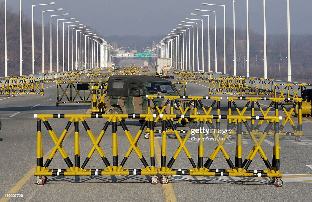 South Korean military vehicle drives past barricades at the military check point near the Demilitarized zone separating South and North Korea on...