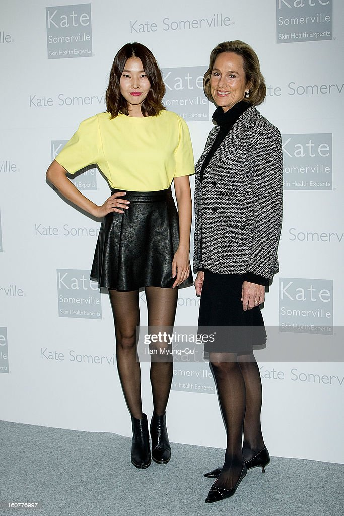 South Korean model, Han Hye-Jin and Michelle Taylor, CEO of Kate Somerville Skincare attend the Kate Somerville Skin Care launching at Park Hyatt Hotel on February 5, 2013 in Seoul, South Korea.