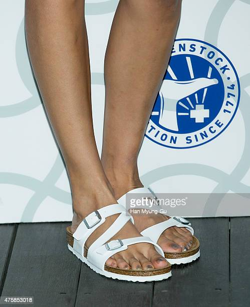 South Korean model Han HyeJin shoe detail attends the photocall for 'Birkenstock' at LF Fashion on May 28 2015 in Seoul South Korea