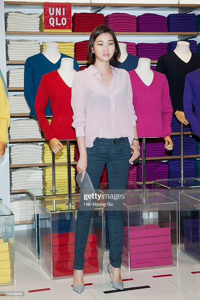 South Korean model Jang Yoon-Ju attends during the 'Uniqlo' 2013 F/W Silk/Cashmere Project press event at Gangnam Uniqlo Store on August 29, 2013 in Seoul, South Korea.