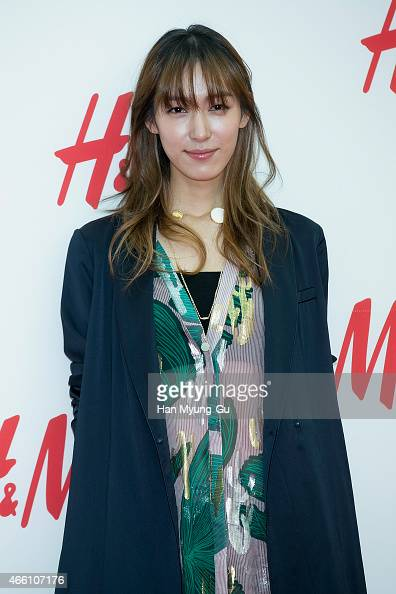 South Korean model Ji HyunJeong attends the opening event for HM YeongDeungPo Times Square at Yeongdeungpo Times Square on March 13 2015 in Seoul...