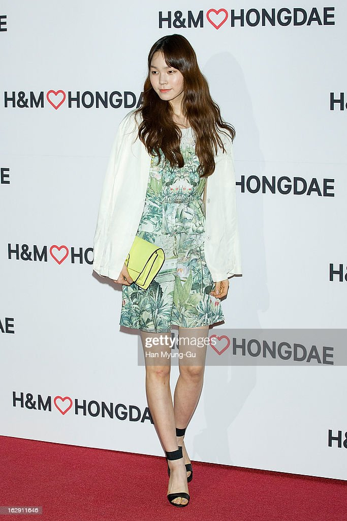 South Korean model, Jin Jung-Sun attends the H&M (Hennes & Mauritz AB) Hongik University Store Opening on February 28, 2013 in Seoul, South Korea.