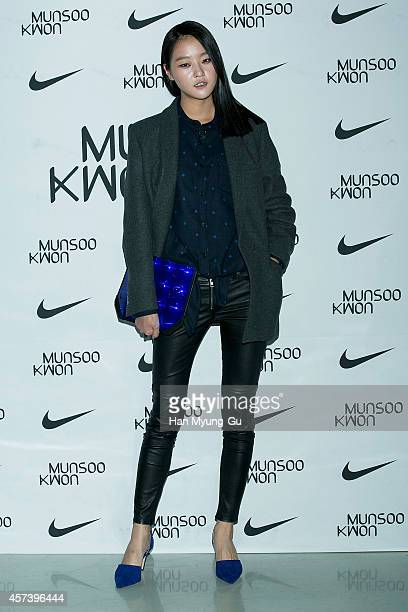 South Korean model Kang SeungHyon poses for photographs at the Munsoo Kwon show as part of Seoul Fashion Week S/S 2015 at DDP on October 17 2014 in...