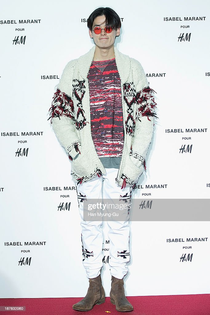South Korean model Kim Won-Joong (Keem Won-Joong) attends Isabel Marant Pour H&M pre-shopping and party at Noon Square H&M Store on November 12, 2013 in Seoul, South Korea.