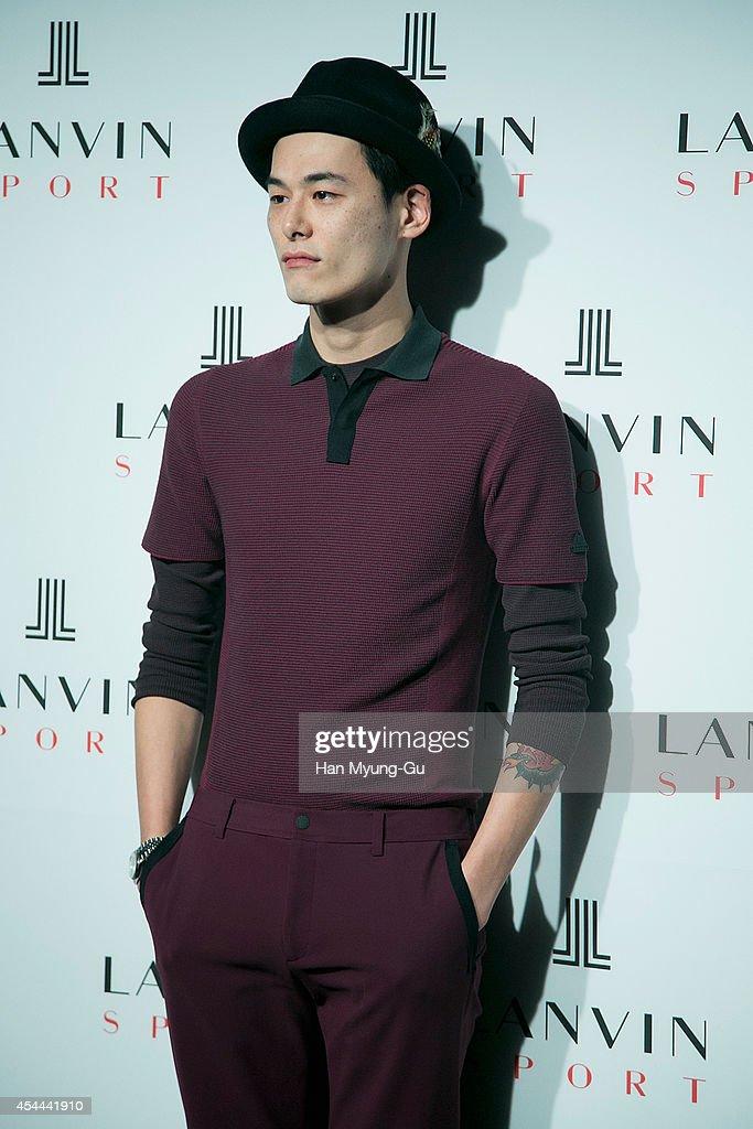 South Korean model Kim Won-Joong (Keem Won-Joong) attends 'Lanvin Sport' FW 2014 Grand Open on August 29, 2014 in Seoul, South Korea.
