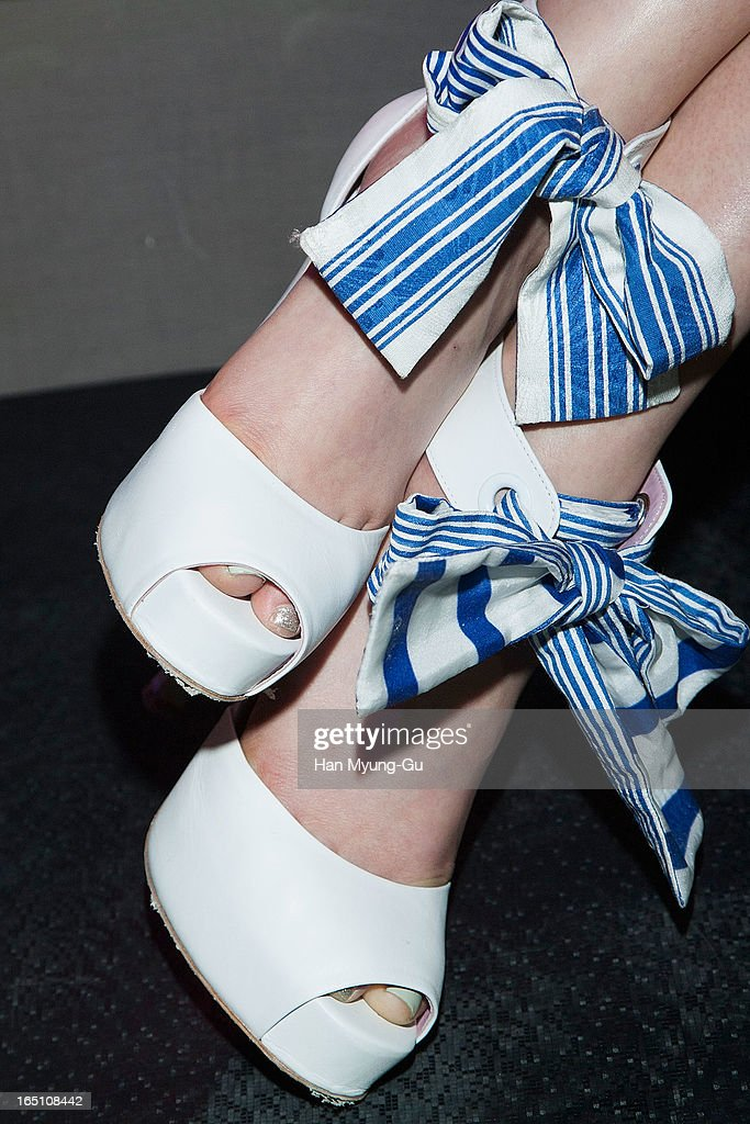 South Korean model Koo Eun-Ae (shoe detail) attends the 'Jardin De Chouette' Collection on March 29, 2013 in Seoul, South Korea.