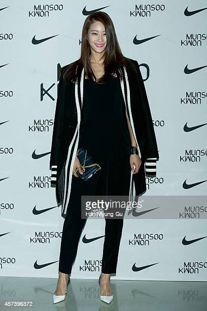 South Korean model Lee HyunYi poses for photographs at the Munsoo Kwon show as part of Seoul Fashion Week S/S 2015 at DDP on October 17 2014 in Seoul...