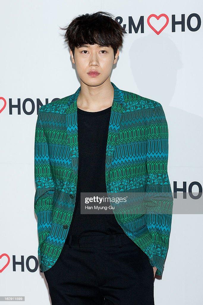 South Korean model, Park Ji-Woon attends the H&M (Hennes & Mauritz AB) Hongik University Store Opening on February 28, 2013 in Seoul, South Korea.