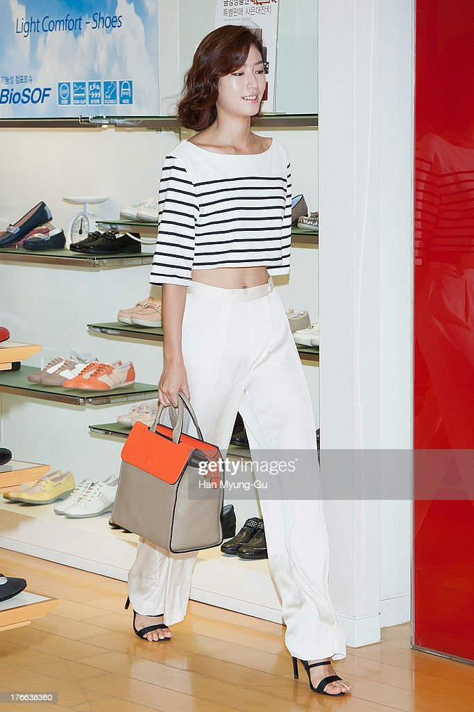 South Korean model Park Seul-Ki attends during the 'Bruno Magli' atelier store grand opening in Seoul on August 16, 2013 in Seoul, South Korea.