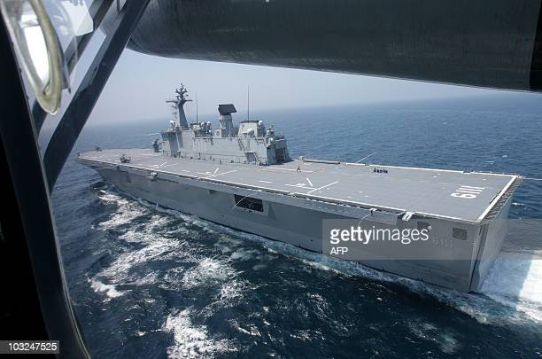 South Korean navy 14000 tonclass largedeck landing ship Dokdo is seen in the Yellow Sea of South Korea on August 5 2010 South Korea launched its...