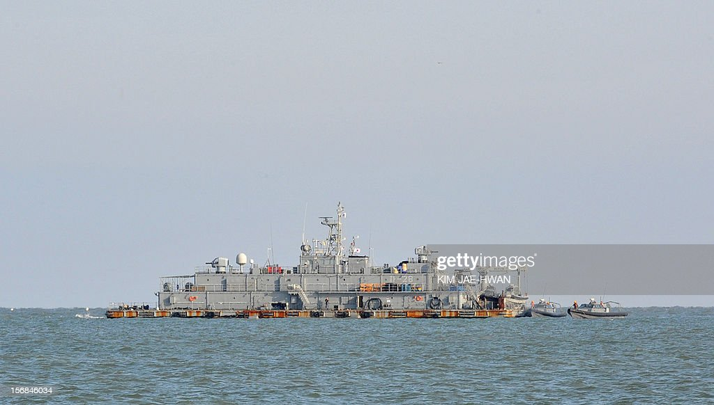 A South Korean Navy mobile sea base platform operating off Yeonpyeong island is pictured on the second anniversary of North Korea's attack on the border island on November 23, 2012. South Korea marked on November 23, 2012 the anniversary of North Korea's 2010 shelling of a border island with a military drill and memorials, clouded by the threat of a fresh attack from Pyongyang.