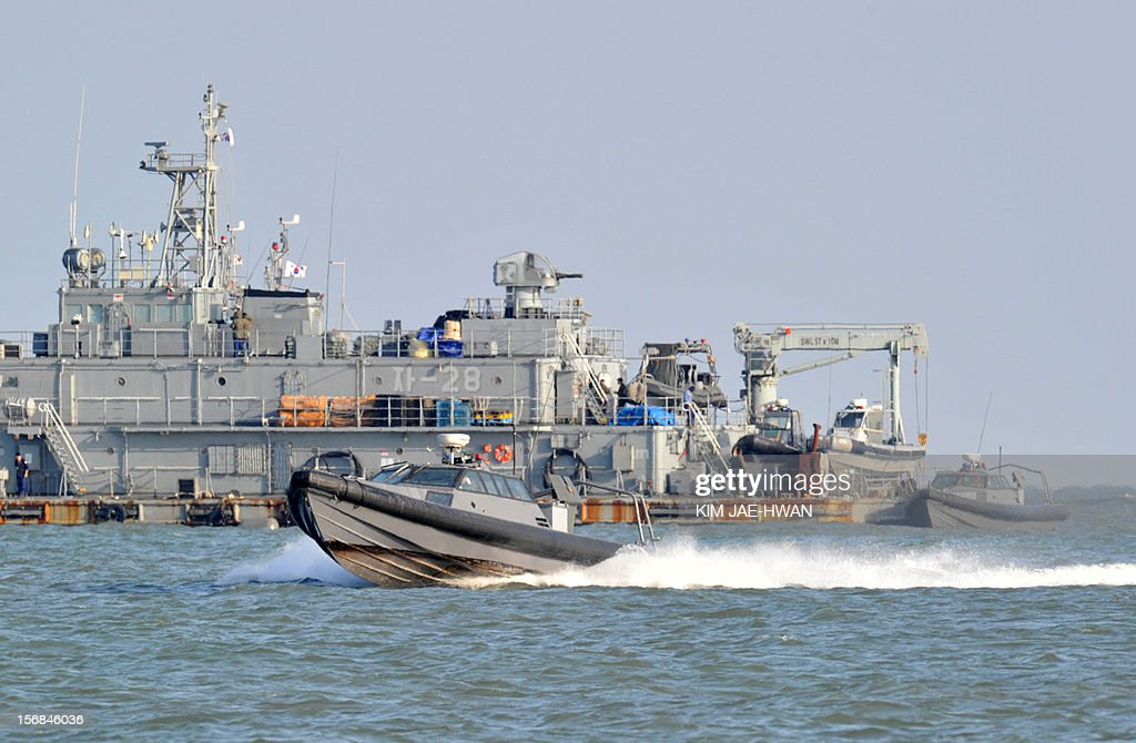 A South Korean Navy mobile sea base platform operating off Yeonpyeong island is pictured on the second anniversary of North Korea's attack on the border island on November 23, 2012. South Korea marked on November 23 the anniversary of North Korea's 2010 shelling of a border island with a military drill and memorials, clouded by the threat of a fresh attack from Pyongyang.