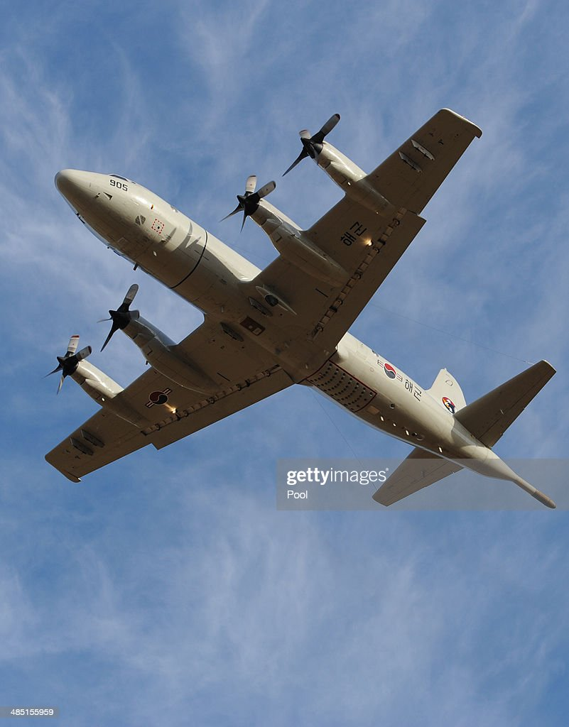 A South Korean P3 Orion aircraft takes off from Pearce Airbase, in Bullsbrook, 35 kms north of Perth to help in the search for missing Malaysia Airlines flight MH370 on April 17, 2014 in Perth, Australia. Twenty-six nations have been involved in the search for Malaysia Airlines Flight MH370 since it disappeared more than a month ago. The Malaysian Airways aircraft went missing on 8th March 2014 whilst on a flight between Kuala Lumpur and Beijing.