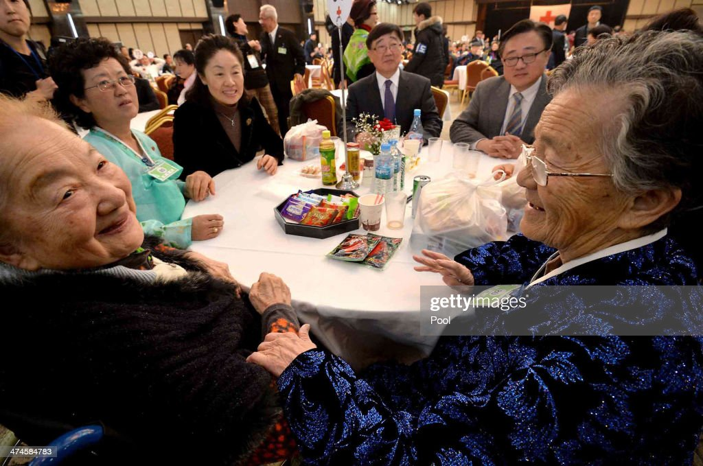 South Korean Park Nan-Ho (L) meets her North Korean younger sister Park Tae-Ho (R) during a family reunion after being separated for 60 years on February 24, 2014 in Mount Kumgang, North Korea. The program, which allows reunions of family members separated by the 1950-53 Korean war, is a result of recent agreement between Koreas which had been suspended since 2010.