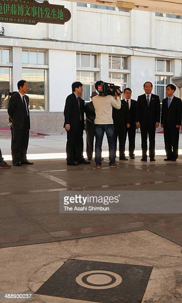 South Korean Patriots and Veterans Affairs Minister Park Sung Choon visits the platform where South Korean activist Ahn JungGeun assassinated...