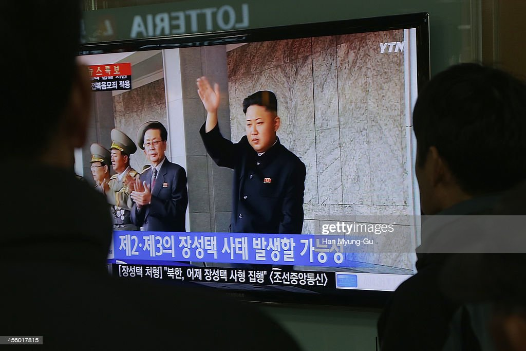 South Korean people watch breaking news about the alleged dismissal of Jang Sung-Thaek, North korean leader <a gi-track='captionPersonalityLinkClicked' href=/galleries/search?phrase=Kim+Jong-Un&family=editorial&specificpeople=5964161 ng-click='$event.stopPropagation()'>Kim Jong-Un</a>'s uncle being shown at Seoul Station on December 13, 2013 in Seoul, South Korea. The North Korean state media reported North Korea has executed Jang Song-Thaek, Kim Jong Un's uncle on December 13, 2013.
