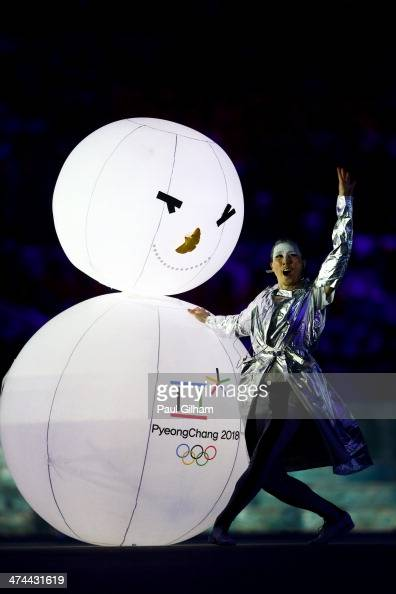 South Korean performers dance during the Pyeongchang 2018 presentation during the 2014 Sochi Winter Olympics Closing Ceremony at Fisht Olympic...