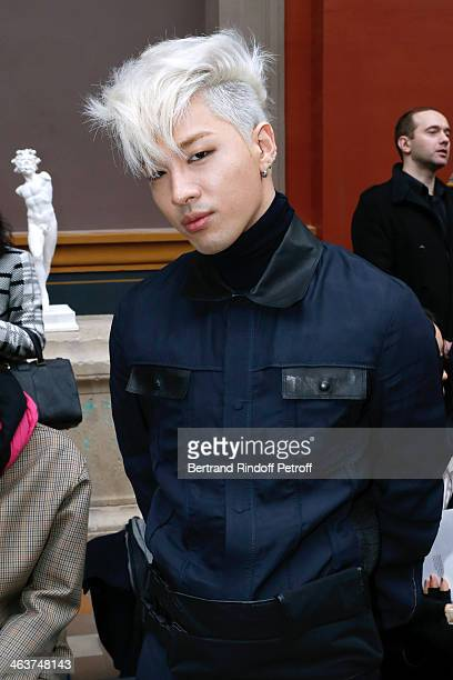 South Korean personality Taeyang attends the Lanvin Menswear Fall/Winter 20142015 Show as part of Paris Fashion Week Held at 'Ecole Des Beaux Arts'...