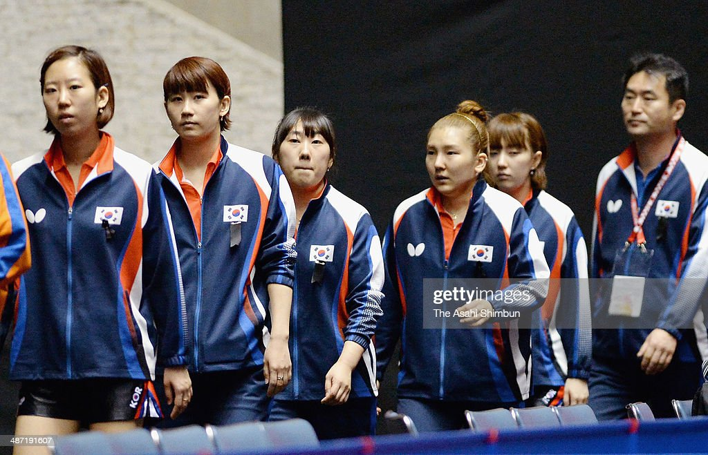 South Korean players wear mournings on their chests to pray for the victims of the sunken ferry during day one of the 2014 World Team Table Tennis Championships at Yoyogi National Gymnasium on April 28, 2014 in Tokyo, Japan.