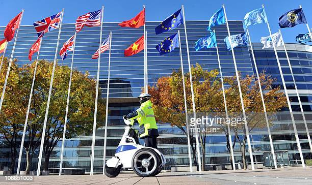 A South Korean policemen on a minimobile transport patrols in front of the venue for the upcoming G20 Summit in Seoul on November 9 2010 Authorities...