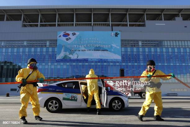 South Korean policemen participate in an antiterror drill at the Olympic Staduim venue of the Opening and Closing ceremony on December 12 2017 in...