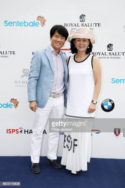 South Korean Polo Player JB Lee left attends the Sentebale Royal Salute Polo Cup on June 5 2017 in Singapore The Sentebale Royal Salute Polo Cup is...