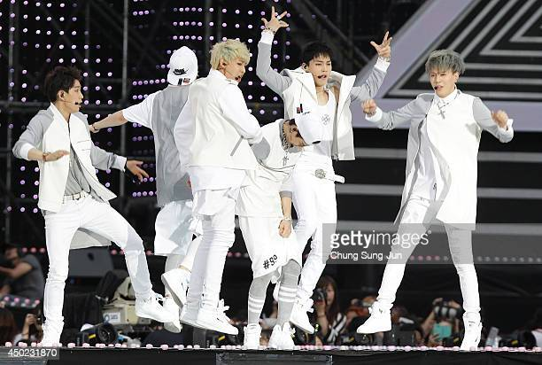 South Korean pop group GOT7 perform on stage during the 20th Dream Concert on June 7 2014 in Seoul South Korea