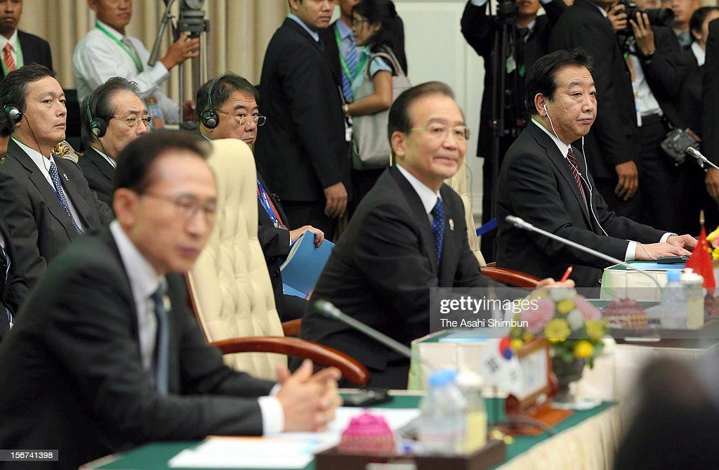 South Korean President Lee Myung Bak, Chinese Premier <a gi-track='captionPersonalityLinkClicked' href=/galleries/search?phrase=Wen+Jiabao&family=editorial&specificpeople=204598 ng-click='$event.stopPropagation()'>Wen Jiabao</a> and Japan Prime Minister <a gi-track='captionPersonalityLinkClicked' href=/galleries/search?phrase=Yoshihiko+Noda&family=editorial&specificpeople=6441440 ng-click='$event.stopPropagation()'>Yoshihiko Noda</a> are seen during the Association of Southeast Asian Nations (ASEAN) plus three summit on November 19, 2012 in Phnom Penh, Cambodia.