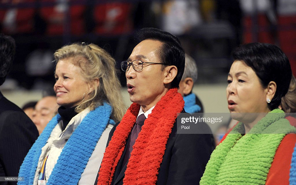 South Korean President <a gi-track='captionPersonalityLinkClicked' href=/galleries/search?phrase=Lee+Myung-Bak&family=editorial&specificpeople=704274 ng-click='$event.stopPropagation()'>Lee Myung-Bak</a> and his wife <a gi-track='captionPersonalityLinkClicked' href=/galleries/search?phrase=Kim+Yoon-Ok&family=editorial&specificpeople=3779797 ng-click='$event.stopPropagation()'>Kim Yoon-Ok</a> attend the Opening Ceremony of the 2013 Pyeongchang Special Olympics World Winter Games at the Yongpyeong stadium on January 29, 2013 in Pyeongchang-gun, South Korea.