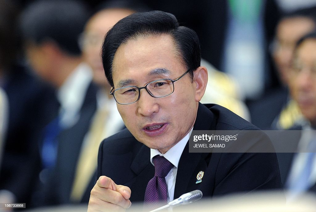 South Korean President Lee Myung-Bak attends the East Asian Summit Plenary Session at the Peace Palace in Phnom Penh on November 20, 2012. Cambodian is hosing the 21st Association of Southeast Asian Nations (ASEAN) Summit and related summits. AFP PHOTO/Jewel Samad