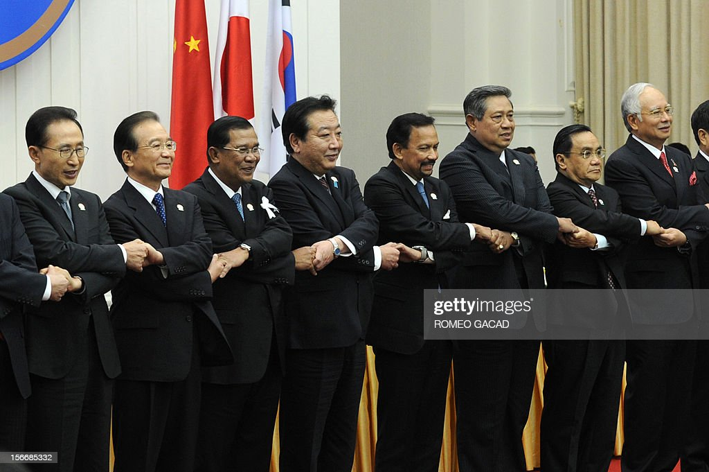 South Korean President Lee Myung-Bak, Chinese Premier Wen Jiabao, Cambodian Prime Minister Hun Sen, Japan Prime Minister Yoshihiko Noda, Brunei Sultan Hassanal Bolkiah, Indonesian President Susilo Bambang Yudhoyono, Laos Prime Minister Thongsing Thammavong and Malaysian Prime Minister Najib Razak join hands together for a family photo session during the Association of Southeast Asian Nations (ASEAN) plus three commemorative summit in Phnom Penh on November 19, 2012 following the 21st ASEAN Leaders Summit. Southeast Asian nations were to press China to quickly begin talks on easing tensions over maritime territorial rows that have shaken the region and overshadowed efforts to boost trade. AFP PHOTO / ROMEO GACAD