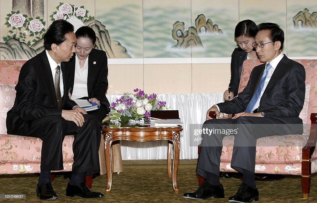 South Korean President Lee Myung-Bak (R) meets with Japanese Prime Minister Yukio Hatoyama to discuss the situation with North Korea in Seogwipo City on Jeju Island on May 29, 2010.