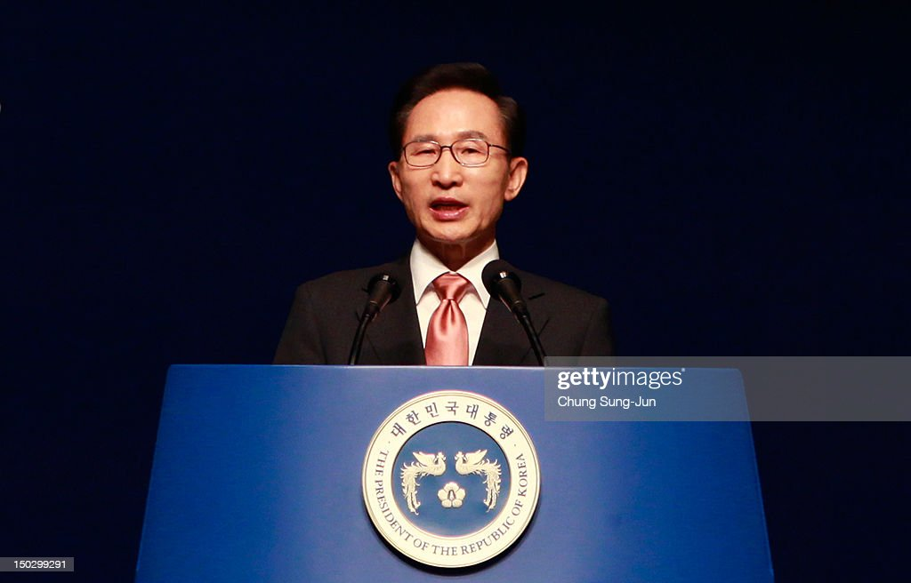 South Korean President <a gi-track='captionPersonalityLinkClicked' href=/galleries/search?phrase=Lee+Myung-Bak&family=editorial&specificpeople=704274 ng-click='$event.stopPropagation()'>Lee Myung-Bak</a> speaks during the 67th Independence Day ceremony at Sejong Art Center on August 15, 2012 in Seoul, South Korea. Korea was liberated from Japan's 35-year colonial rule in 1945.