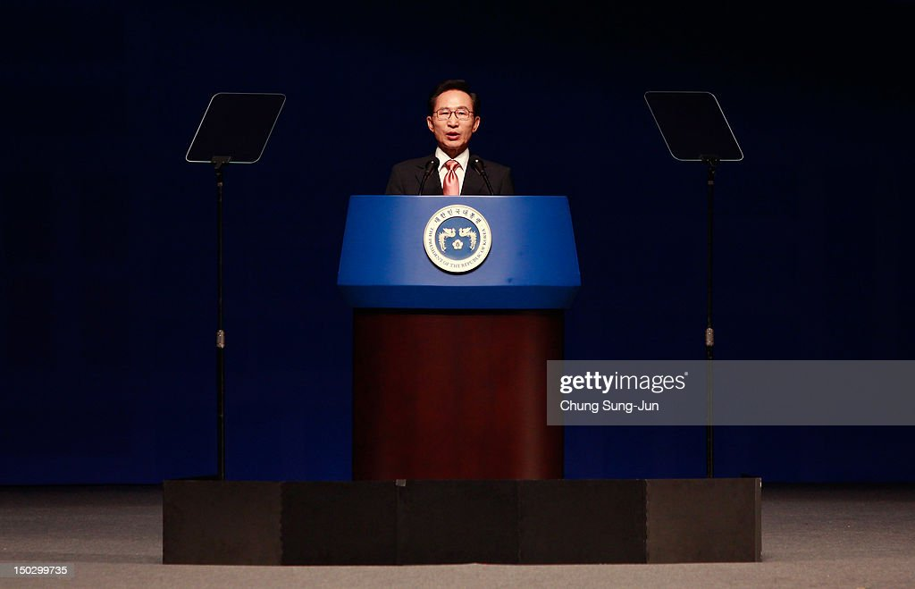 South Korean President Lee Myung-Bak speaks during the 67th Independence Day ceremony at Sejong Art Center on August 15, 2012 in Seoul, South Korea. President Lee Myung Bak used his speech to call on Japan to 'take responsible measures' in relation to a long running human rights dispute over the use of Korean women for sexual services by Japanese military personnel during World War II . Korea was liberated from Japan's 35-year colonial rule in 1945.