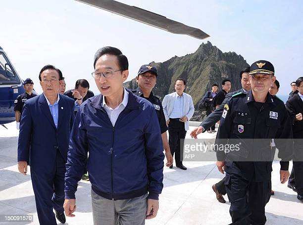 South Korean President Lee MyungBak visits remote islands disputed with Japan known as Dokdo in Korea and Takeshima in Japan in the Sea of Japan on...