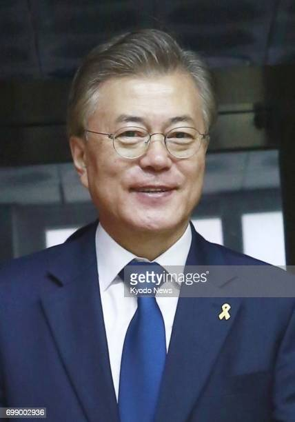South Korean President Moon Jae In shown in this file photo said in an interview with the Washington Post published on June 20 2017 that Japan must...
