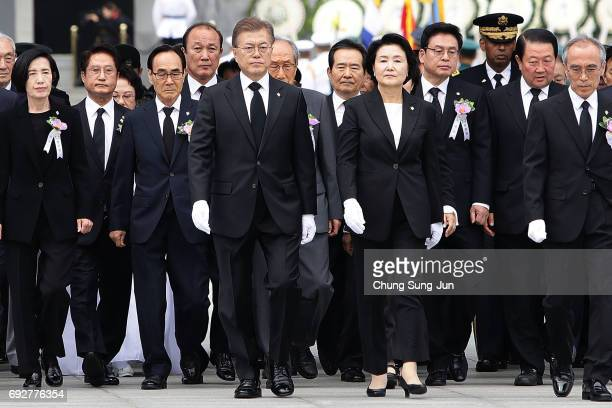 South Korean President Moon Jaein and his wife Kim Jungsuk attend a ceremony marking Korean Memorial Day at the Seoul National cemetery on June 6...