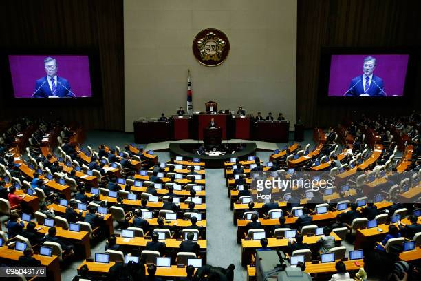 South Korean President Moon Jaein speaks at the National Assembly on the government budget on June 12 2017 in Seoul South Korea