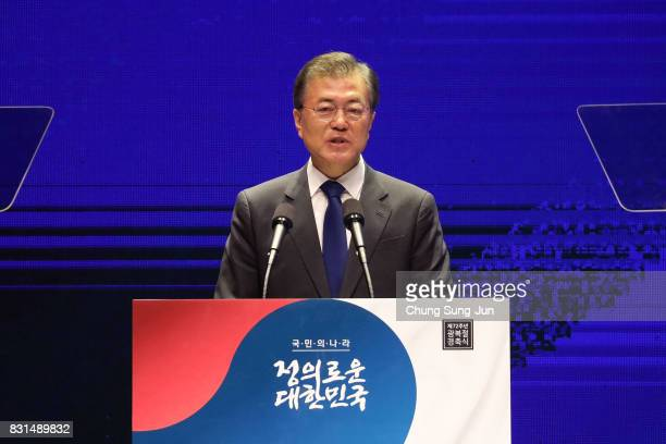 South Korean President Moon Jaein speaks during the celebration of 72nd anniversary of the Liberation Day on August 15 2017 in Seoul South Korea...